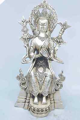 Collection Handwork Decor Old Miao SIlver Carve Beauty Lotus Buddha Lucky Statue