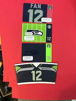 Seattle Seahawks Lot Of 4 Starbucks 1 Cup Sleeve 3 Gift Cards Set New No Value