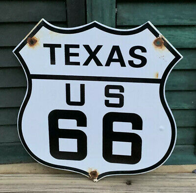 Old Us Route 66 Texas Porcelain Metal Sign Gas 11 3/4 Oil Road Hwy Lone Star