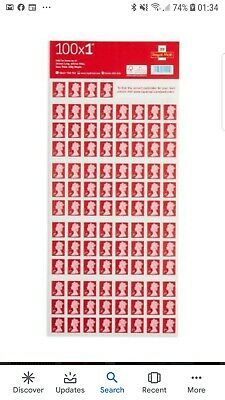 Genuine 100 x 1st Class Royal Mail UK postage First Class stamps on sheet