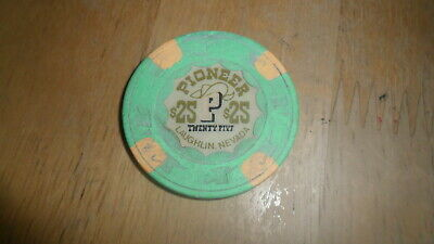Vintage Pioneer Gambling Hall - $25 Chip Laughlin Nevada  White Background