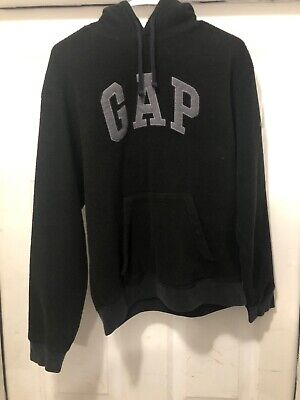 90s VTG THE GAP FLEECE HOODIE PULLOVER Sweatshirt S Spell Out Logo Soft Navy