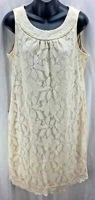 Beige by ECI Dress 10 Ivory Floral Lace Bead Scoop Neck Tunic Women New 997