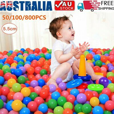 800x Play Pit Balls Kids Plastic Baby Ocean Soft Toy Ball Colourful Playpen Fun