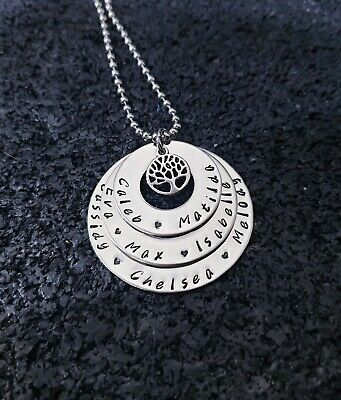 hand stamped stainless steel 3 tier tree of life necklace Personalised Pendant
