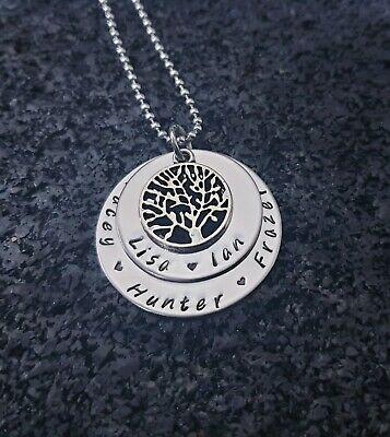 personalised hand stamped stainless steel 2 tier washer tree of life necklace