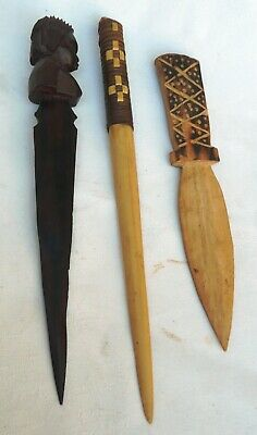 Three Carved Dagger Letter Openers