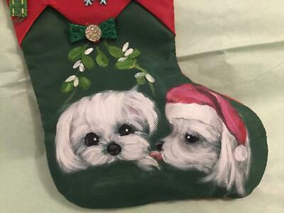 Maltese Hand Painted Stocking Christmas Ornament