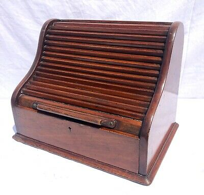 Antique Victorian Mahogany Tambour Front Desk Tidy Stationary Box Letter Rack