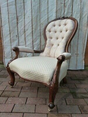 Lovely Antique Victorian Carved Walnut Button Back Upholstered Armchair.