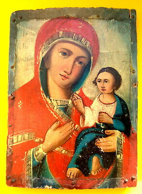 Antique 19th Century Russian Orthodox Icon Mother of God Top Original Painting