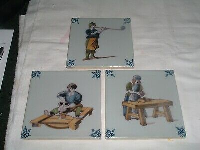 3 Vintage Antique Royal Tichelaar Makkum Dutch Polychrome Delft Tile Occupations