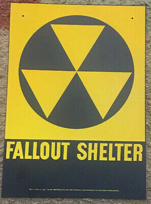 Vintage Fallout Shelter Sign  10 X 14 Metal Signs 5 Pieces. NEAR PERFECT.
