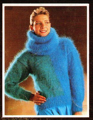 """~ Robin Knitting Pattern For Lady's Beautiful Mohair Sweater & Cowl ~ 30"""" ~ 40"""""""