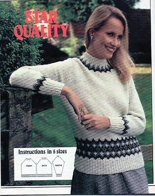 """~ Laminated Knitting Pattern For Lady's Fair Isle Border Sweater ~ 32"""" ~ 40"""" ~"""