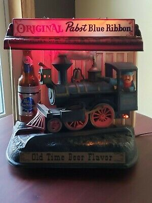 Vintage Pabst Blue Ribbon Beer Moving Train Sign