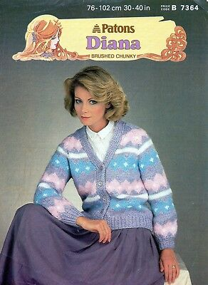 """~ Patons Knitting Pattern For Lady's Fair Isle-Style Cardigan ~ 30"""" ~ 40"""" ~"""
