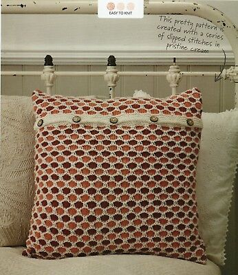 """~ Pull-Out Knitting Pattern For Honeycomb Design Cushion Cover ~ Fits 17"""" Pad ~"""