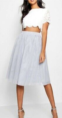 Boohoo Co Ord Set Outfit Grey Skirt White Top Size 8 Free Delivery