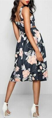 Boohoo Floral Co Ord 2 Piece Dress Outfit Skirt and Top Free Delivery