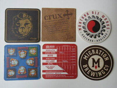 6 Beer Coasters ~ PFriem, Crux, Montana Ale Works, Mad River, Ground Breaker +