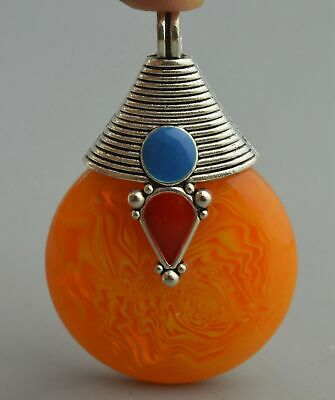 China Collectable Handwork =Miao Silver Carve Totem Inlay Amber Noble Pendant