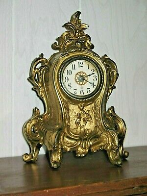 Art Nouveau 1902 Cast Iron Brass Plated Dresser Clock W/ Angels Working  Antique