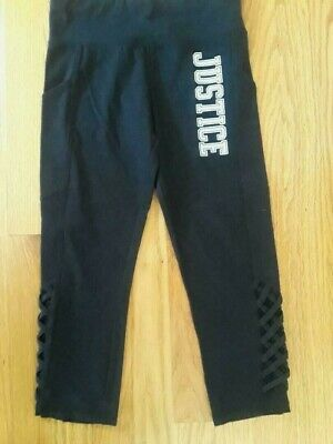 Justice Active Girls' High Waist Black Leggings, Size 12 - Side Pockets and More