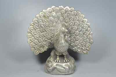 Chinese Collectable Handwork Miao SIlver Carve Beauty Peacock Auspicious Statue