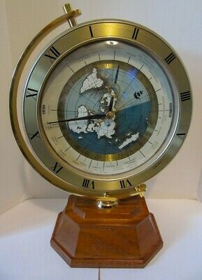 Seiko World Time Mantle or Shelf Clock with Wood Base QXG115G
