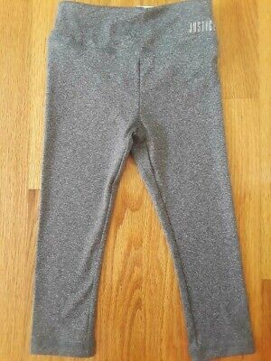 Justice Active Girls' Gray High Waist Crop Legging, Size 8 - 4 Way Stretch, Etc.
