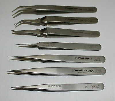 Set of 7 TECHNI-TOOL precision stainless steel tweezers 000 3C SM100 Swiss made