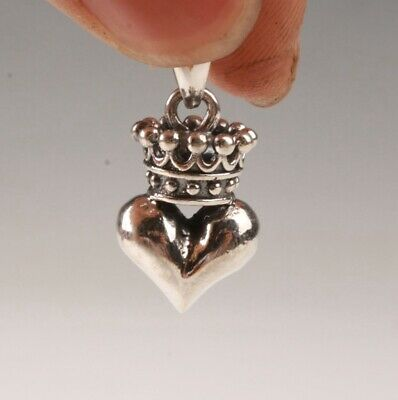 Retro China 925 Silver Pendant Statue Heart-Shaped Old Solid Mascot Gift