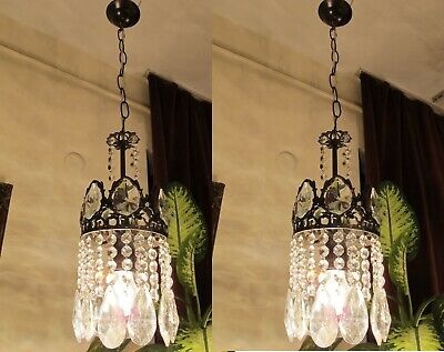 PAIR OF Antique VNT.FRENCH Basket style Crystal Chandelier Light Lamp Lustre