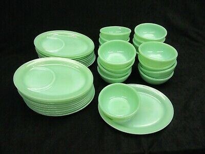 Vtg. Jadeite Jadite Fire King Restaurant Indent Platter and Soup Bowl G211  G309