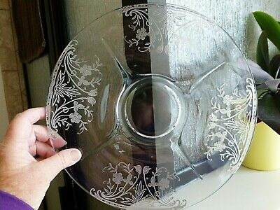 Lovely Sterling Silver Overlay Round Glass Serving Platter Tray Floral Bouquet