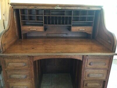 ANTIQUE  Turn Of 1900s  1/4 Sawn Oak Roll Top desk  Pickup In San Diego Ca