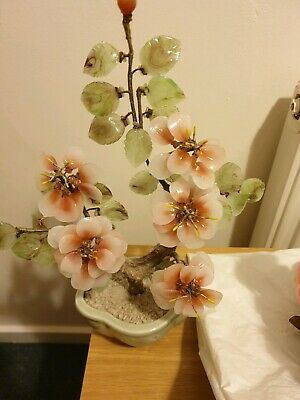 Vintage Glass Jade Bonsai Flower Tree Chinese