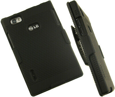 New Black Hard Case + Belt Clip Holster Stand For Verizon Lg Intuition Vs950