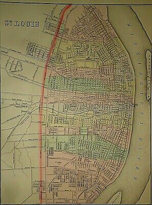 Vintage 1889 ST. LOUIS MAP Old Antique Original & Authentic ~ Quick N Free
