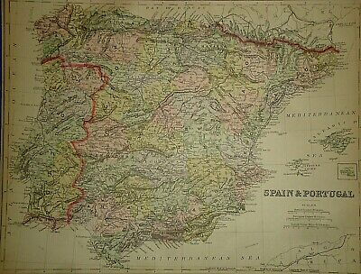 Vintage 1889 SPAIN PORTUGAL MAP Old Antique Original & Authentic ~ Quick N Free