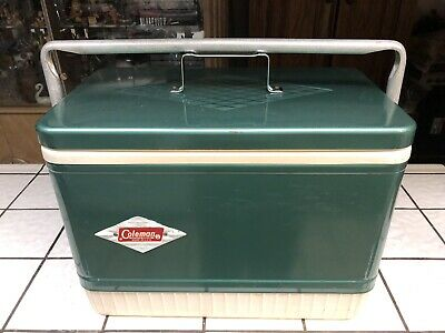 Vintage Coleman Diamond Logo  Green Metal Camping Cooler Ice Chest Carry Size