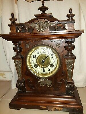 19thC 1800s Antique German key wind chime Mantel Clock Philipp Haas & Söhne