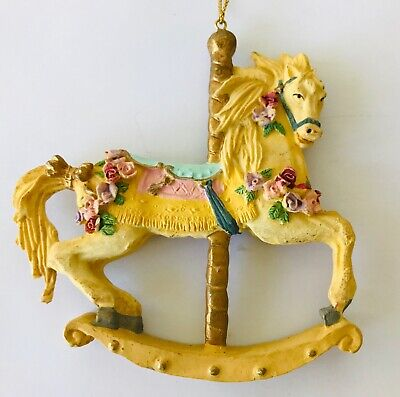 """Carousel Rocking Horse Christmas Holiday Ornament Yellow 3.5"""""""