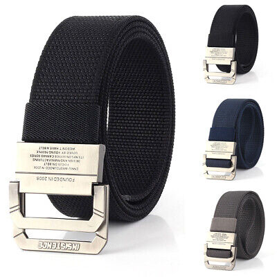 120cm Nylon Tactical Belt Double Ring Alloy Buckle Cowboy Pants Belt Universal