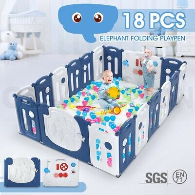18 Panel Elephant Design Kids Baby Playpen Safety Gate Toys w/ Drawing Board