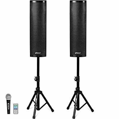 2000W Set of 2 Bi-Amplified Bluetooth Speakers PA System W/ 3-Channel & Stands