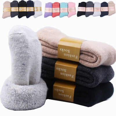 Mens Womens Wool Cashmere Thick Socks Soft Solid Outdoor Sport Winter Warm Socks
