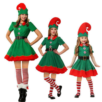 Christmas Xmas Adult Kid Deluxe Elf Costume Santa Helper Dress w/Hat Stocking