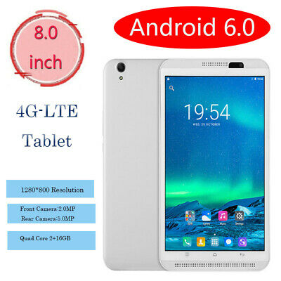 8 Inch 4G-LTE Tablet Computer PC Quad Core Android 6.0 Wifi 2+16GB Dual Camera